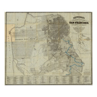 Mapa oficial de la ciudad de San Francisco de Banc Póster