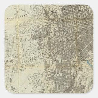 Mapa oficial de la ciudad de San Francisco de Pegatina Cuadrada