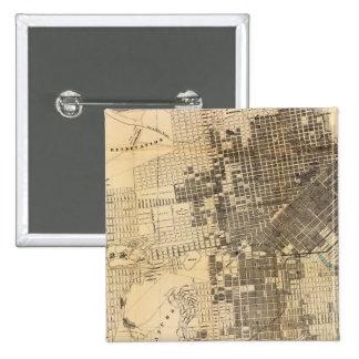 Mapa oficial de la guía de Bancroft de San Francis Pin Cuadrado