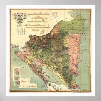 Mapa oficial de Nicaragua 1898 Póster
