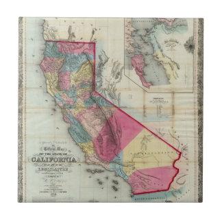 Mapa oficial del estado de California Azulejo Cuadrado Pequeño