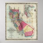 Mapa oficial del estado de California Póster