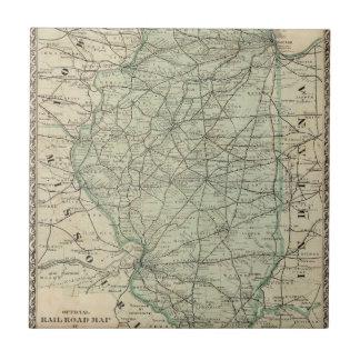 Mapa oficial del ferrocarril de Illinois Azulejo Cuadrado Pequeño