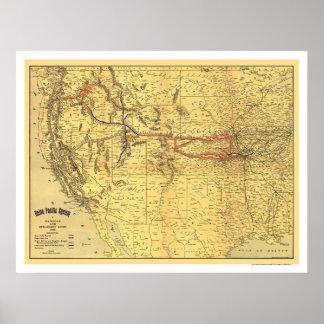 Mapa pacífico 1900 del ferrocarril de la unión poster