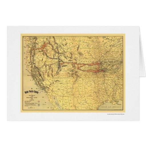 Mapa pacífico 1900 del ferrocarril de la unión tarjeta de felicitación