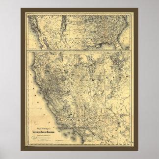 Mapa pacífico meridional del ferrocarril 1875 póster