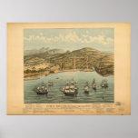 Mapa panorámico 1846 de la opinión de ojo de pájar posters