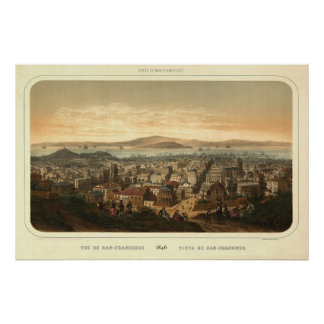 Mapa panorámico 1846 de San Francisco Birdseye Póster