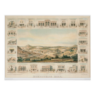 Mapa panorámico 1855 (1107A) de la colina de Mokel Posters