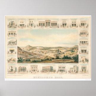 Mapa panorámico 1855 (1107A) de la colina de Mokel Póster
