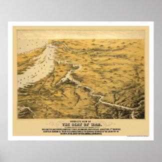 Mapa panorámico 1861 de la guerra civil impresiones