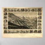 Mapa panorámico 1861 de la opinión de ojo de pájar posters