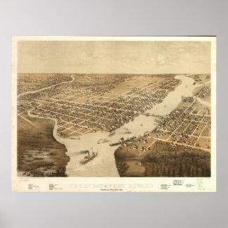 Mapa panorámico 1867 de los WI BirdsEye del pie Ho Póster