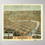 Mapa panorámico 1871 de la opinión de ojo de pájar posters