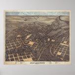 Mapa panorámico 1873 del ojo del pájaro de San Ant Poster