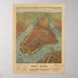 Mapa panorámico 1879 de la opinión de ojo de pájar poster