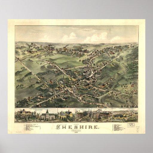 Mapa panorámico 1882 de la opinión de ojo de pájar póster
