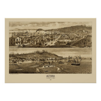 Mapa panorámico 1883 de Astoria Oregon Impresiones