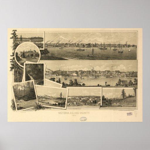 Mapa panorámico 1884 de la isla de Victoria Vancou Posters