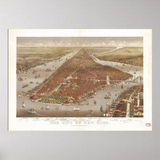 Mapa panorámico 1884 de la opinión de ojo de pájar posters