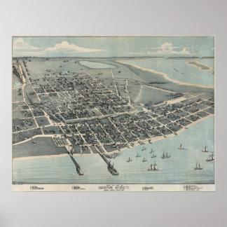 Mapa panorámico 1887 de la opinión de Corpus Chris Póster