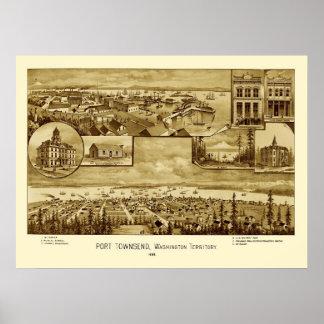 Mapa panorámico 1888 de Townsend Washington del pu Poster