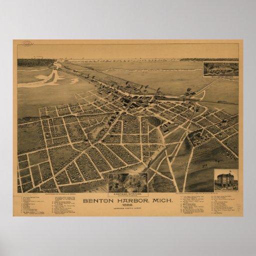 Mapa panorámico 1889 de la opinión de ojo de pájar posters