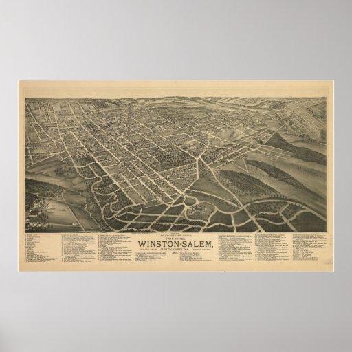 Mapa panorámico 1891 de la opinión de ojo de pájar impresiones