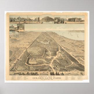 Mapa panorámico 1892 (0644A) de Golden Gate Park Póster