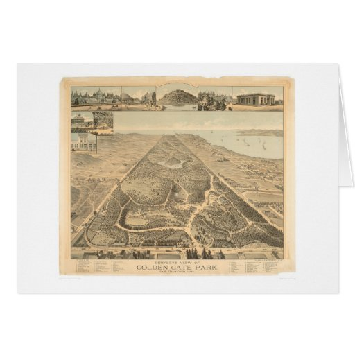 Mapa panorámico 1892 (0644A) de Golden Gate Park Tarjeta
