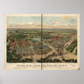 Mapa panorámico 1904 de la feria de mundo de St L Poster