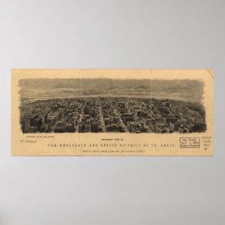Mapa panorámico 1904 de la opinión de ojo de pájar poster
