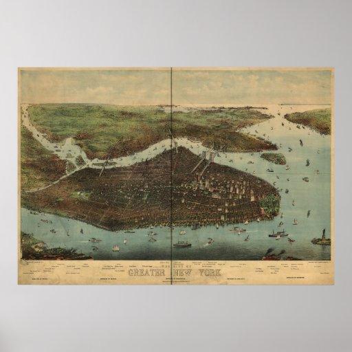 Mapa panorámico 1905 de la opinión de ojo de pájar posters