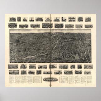 Mapa panorámico 1907 de la opinión de ojo de pájar póster