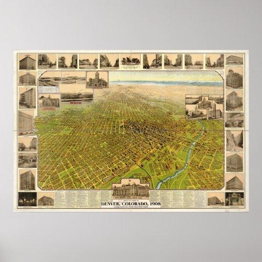 Mapa panorámico 1908 de la opinión de ojo de pájar póster