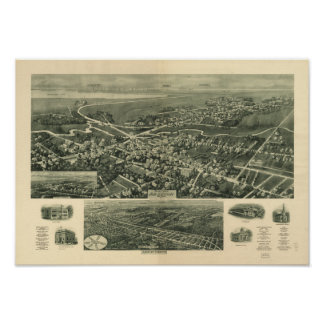 Mapa panorámico antiguo de Absecon New Jersey 1924 Póster