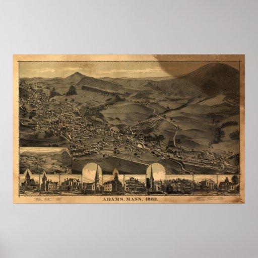 Mapa panorámico antiguo de Adams Massachusetts 188 Impresiones