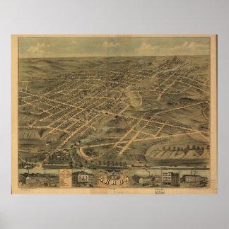 Mapa panorámico antiguo de Akron Ohio 1870 Póster