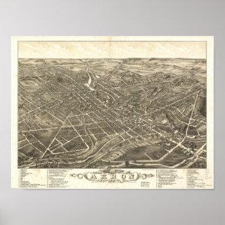 Mapa panorámico antiguo de Akron Ohio 1882 Póster