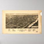Mapa panorámico antiguo de Albany Georgia 1885 Impresiones