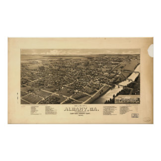 Mapa panorámico antiguo de Albany Georgia 1885 Póster