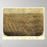 Mapa panorámico antiguo de Albion Michigan 1868 Poster