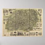 Mapa panorámico antiguo de Allentown Pennsylvania  Póster