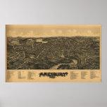 Mapa panorámico antiguo de Amesbury Massachusetts  Posters