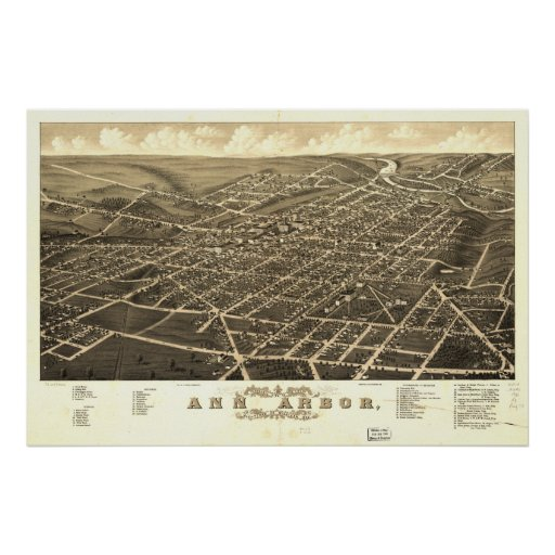 Mapa panorámico antiguo de Ann Arbor Michigan 1880 Posters
