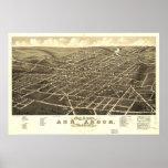 Mapa panorámico antiguo de Ann Arbor Michigan 1880 Póster