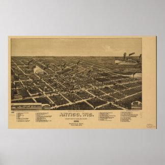 Mapa panorámico antiguo de Antigo Wisconsin 1886 Póster