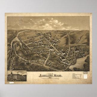 Mapa panorámico antiguo de Ashland Massachusetts 1 Póster