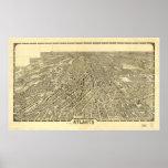 Mapa panorámico antiguo de Atlanta Georgia 1919 Posters