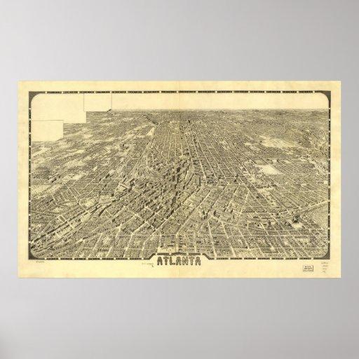 Mapa panorámico antiguo de Atlanta Georgia 1919 Póster